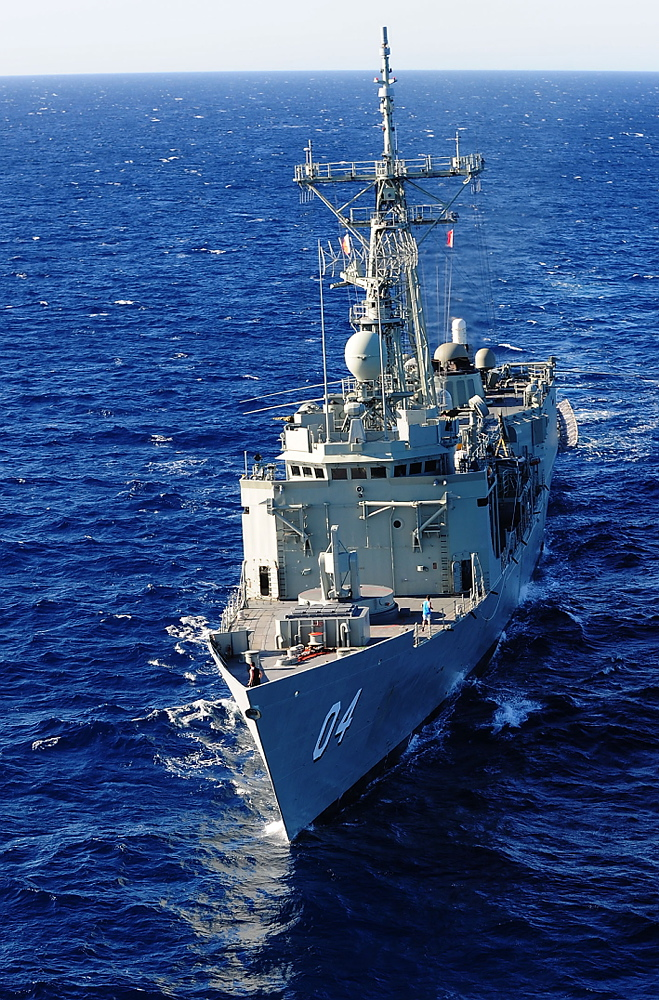 HMAS Darwin conducts maritime surveillance patrols off the coast of Western Australia in support of CHOGM 2011.