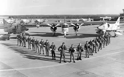 851 and 724 Squadrons at their de-commissioning in June 1984. From left to right: LEUT Andrew Davis, POACM Rick Neville, LEUT Peter Brown, POACM Mal Hume, CPOACM Bob Mills, LEUT Tony Caladine, SBLT Harry Wendt, SBLT Graham Miller, LCDR Roger Scovell, LCDR Richard Scott, LCDR John Hamilton, LEUT Ray France, SBLT Dave Coote, LCDR Mike Killingsworth, LCDR Larry Mills, LCDR Neil Austin, LEUT Neil Coulch, SBLT Deane Williams, POACM Linton Beggs, POACM Sandy Nelson, SBLT Bob Jones.