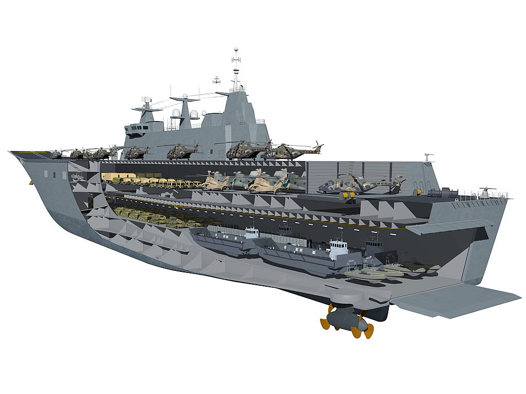 The Canberra Class Amphibious Assault Ship concept.