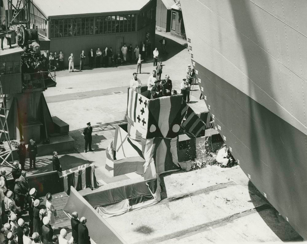 Lady Casey, wife of the Governor General, launches HMAS Stalwart on 7 October 1966