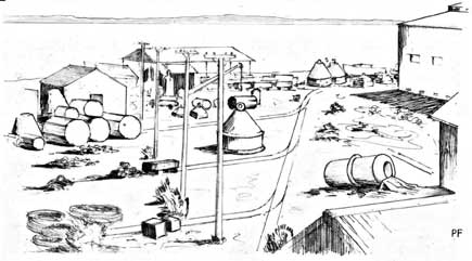 Within the Boom Yard, 1942. Sketch from 'The Navy in Darwin 1942-1943'. Courtesy of MAGNT.