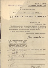 Admiralty Fleet Orders 1943 - 1-106
