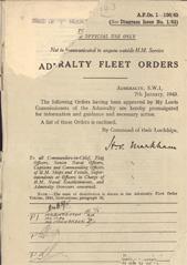 Admiralty Fleet Orders 1943 - 1-106