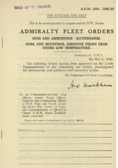 Admiralty Fleet Orders 1943 - 1024-1025
