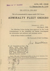 Admiralty Fleet Orders 1942 - 1089-1216