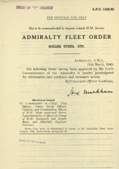 Admiralty Fleet Orders 1943 - 1156