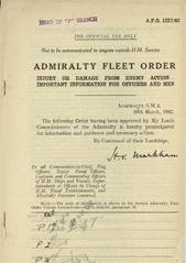 Admiralty Fleet Orders 1942 - 1217