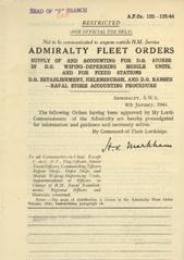 Admiralty Fleet Orders 1944 - 122-123