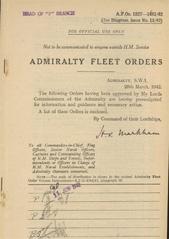 Admiralty Fleet Orders 1942 - 1327-1481