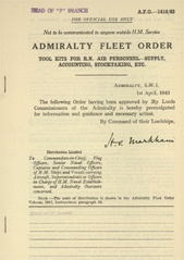 Admiralty Fleet Orders 1943 - 1414