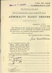 Admiralty Fleet Orders 1943 - 1416-1524