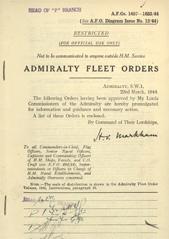 Admiralty Fleet Orders 1944 - 1457-1633