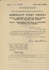 Admiralty Fleet Orders 1942 - 1484-1485