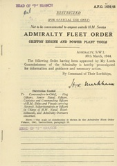 Admiralty Fleet Orders 1944 - 1634