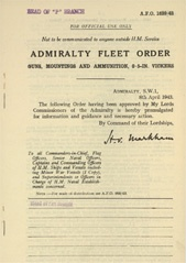 Admiralty Fleet Orders 1943 - 1639