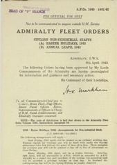 Admiralty Fleet Orders 1943 - 1640-1641