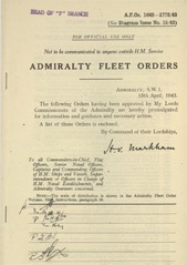 Admiralty Fleet Orders 1943 - 1643-1773