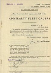 Admiralty Fleet Orders 1942 - 1731-1860
