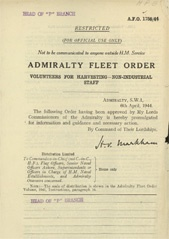 Admiralty Fleet Orders 1944 - 1758