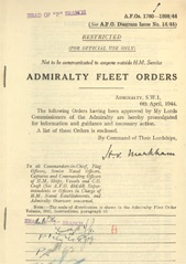 Admiralty Fleet Orders 1944 - 1760-1898