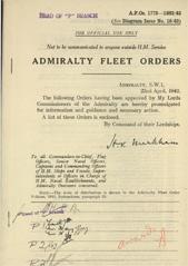 Admiralty Fleet Orders 1943 - 1775-1883