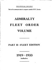 Admiralty Fleet Orders 1919-1933
