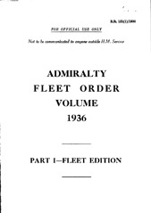 Admiralty Fleet Orders 1936