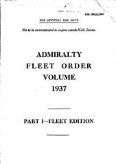 Admiralty Fleet Orders 1937