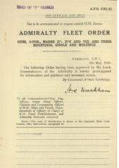 Admiralty Fleet Orders 1943 - 2101