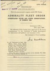 Admiralty Fleet Orders 1944 - 2152