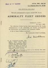 Admiralty Fleet Orders 1943 - 2462-2581