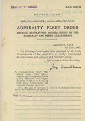 Admiralty Fleet Orders 1943 - 2582