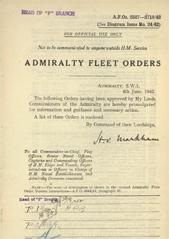 Admiralty Fleet Orders 1942 - 2587-2719