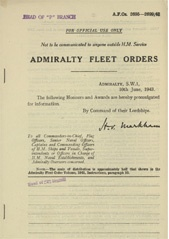 Admiralty Fleet Orders 1943 - 2695-2699