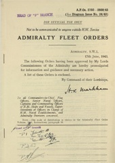 Admiralty Fleet Orders 1943 - 2702-2809