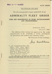 Admiralty Fleet Orders 1943 - 2920