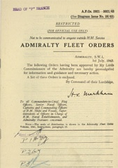 Admiralty Fleet Orders 1943 - 2921-3021