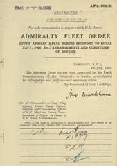 Admiralty Fleet Orders 1943 - 3022