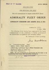 Admiralty Fleet Orders 1943 - 3023