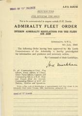 Admiralty Fleet Orders 1943 - 3124