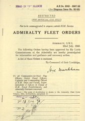 Admiralty Fleet Orders 1943 - 3242-3367