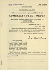 Admiralty Fleet Orders 1943 - 3368