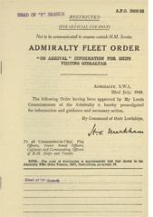 Admiralty Fleet Orders 1943 - 3369