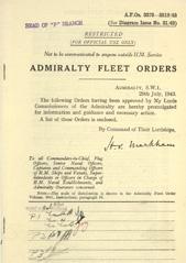 Admiralty Fleet Orders 1943 - 3370-3519