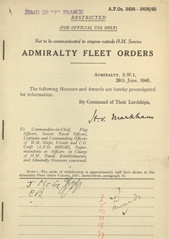 Admiralty Fleet Orders 1945 - 3434-3438