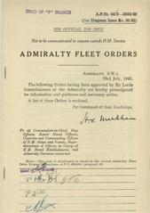 Admiralty Fleet Orders 1942 - 3470-3594