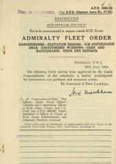 Admiralty Fleet Orders 1944 - 3481