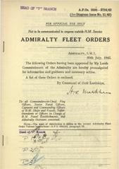 Admiralty Fleet Orders 1942 - 3595-3724