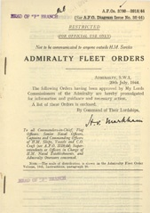 Admiralty Fleet Orders 1944 - 3780-3918