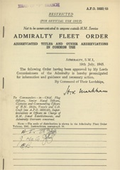 Admiralty Fleet Orders 1945 - 3833